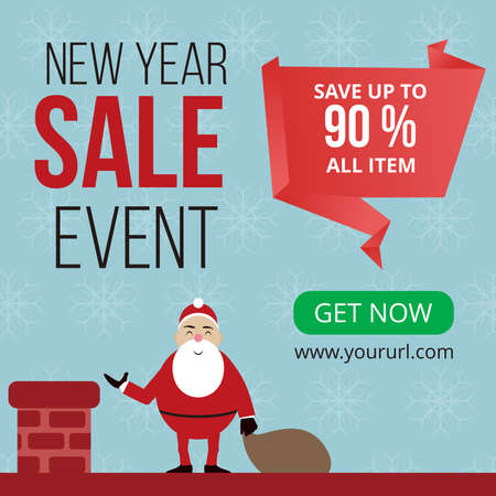 new year sale event banner ready for use, Sale banner background for New Year shopping sale. Design with for web online store or shop promo offer