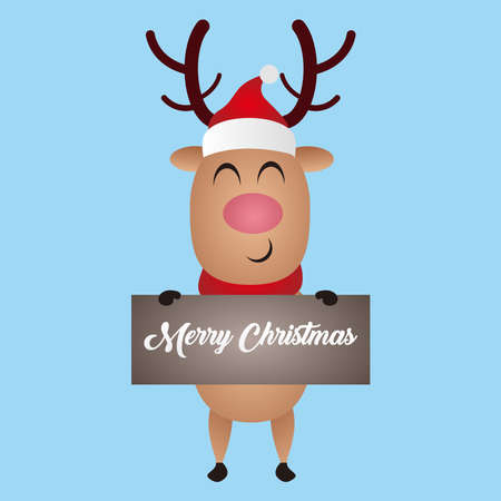 Illustration graphic vector of deer, Christmas cartoon deer, (moose). Merry Christmas and Happy New Year. Vector illustration.