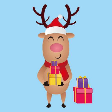 Illustration graphic vector of Christmas reindeer brings gifts, Christmas cartoon deer, (moose), merry christmas, vector illustration