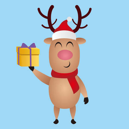 Vector Illustration of Christmas reindeer brings gifts, Christmas cartoon deer, (moose), merry christmas, vector illustration