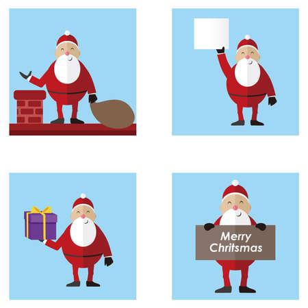 Santa Claus set vector illustration, Set of cartoon Christmas illustrations. Funny happy Santa Claus character for Christmas cards, 免版税图像 - 159708382