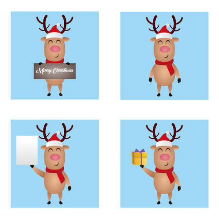 Illustration graphic vector set of christmas reindeer, Cute Deer vector illustration
