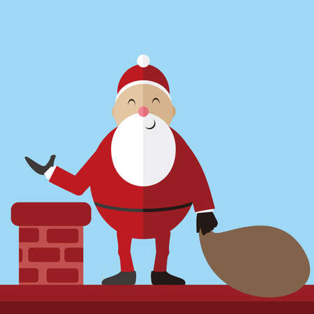 Santa Claus vector illustration, Funny santa claus carries the pouch 免版税图像 - 159708383
