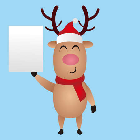 cute christmas vector illustration reindeer holding paper, Deer for invitation, birthday, greeting, party, Merry Christmas motive, t-shirt design, winter holidays. Happy holidays card