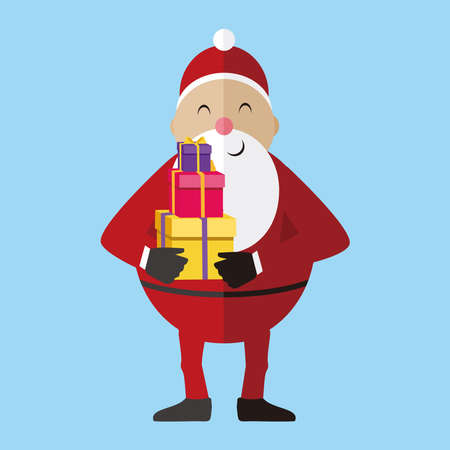 Santa Claus vector illustration, Cartoon Santa Claus for Your Christmas and New Year greeting Design, Vector illustration of happy Santa Claus holding in hand gift box
