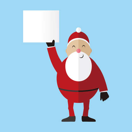 Santa Claus holding a blank paper banner isolated on bluebackground, Santa Claus vector illustration.