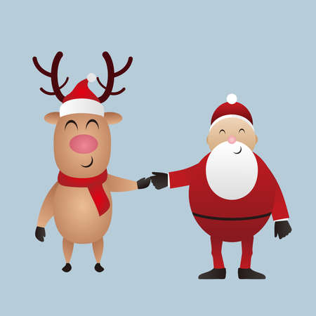 Merry Christmas, Deer and santa claus vector illustration. 免版税图像 - 159825324