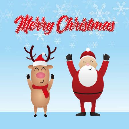Merry Christmas, Deer and santa claus vector illustration. 免版税图像 - 159825486