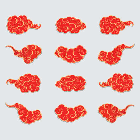 Vector illustration set of Traditional Chinese cloud. chinese new year, japan culture, imlek. 矢量图像