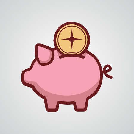 Vector Illustration of piggy bank, cute piggy bank.