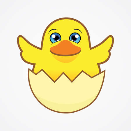 Funny little chick in cracked egg vector graphic illustration. Chicken newborn baby in the shell. 矢量图像