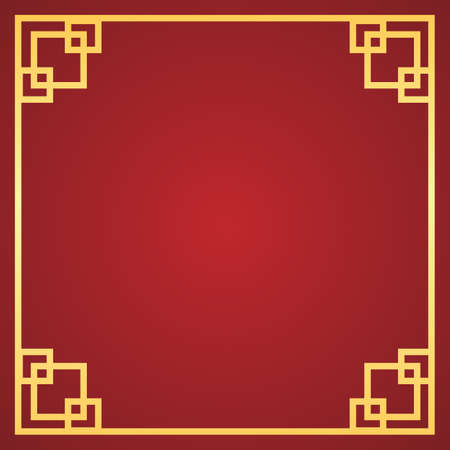 Chinese New Year background with golden frame on red background. Vector illustration. Chinese New Year 2021. Concept for holiday banner, greeting card, decorative element.