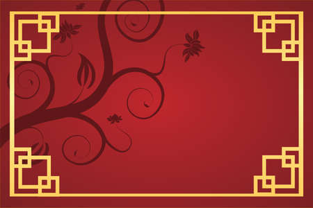 Chinese 2021 New Year background with flower and frame vector design. Vector Illustratiion.