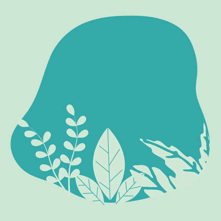Green leaves illustrated background vector template, Tropical, Plant and Nature, Background