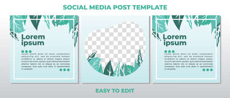 Background template with copy space for text and images with floral and leaves vector illustration. Editable square social media posts templates set.