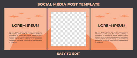Editable square social media posts templates set, Background template with copy space for text and images, vector illustration. 矢量图像