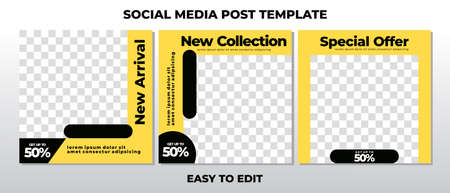 Modern social media post feed, yellow, Set of Editable minimal square banner template. Suitable for social media post and web ads.