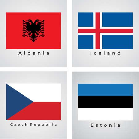 Vector set Of Europe Flags, Albania, Iceland, Czech Republic, Estonia, Vector Illustration