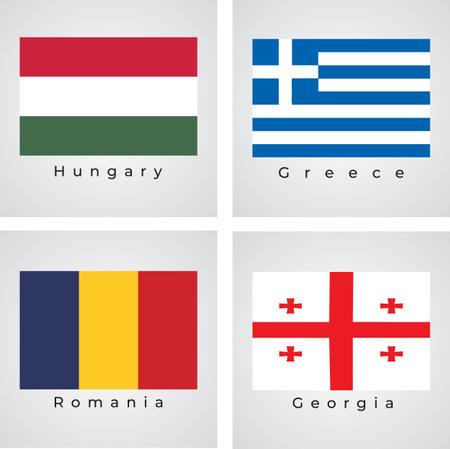 Flags of europe vector set, Hungary, Greece, Romania, Georgia 矢量图像