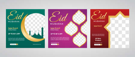 Social media banners set for EID MUBARAK. Social media ads, header or banner set of Eid Mubarak Sale, Eid Mubarak celebration.