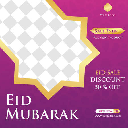 Eid Mubarak Sale creative vector social media post template . Eid Mubarak Sale Modern social media post feed. Perfect for social media post.