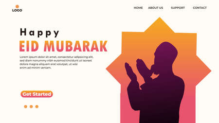 EID MUBARAK greeting concept with web landing page template, banner, presentation, social, and print media. islamic eid fitr or adha flat design vector illustration.