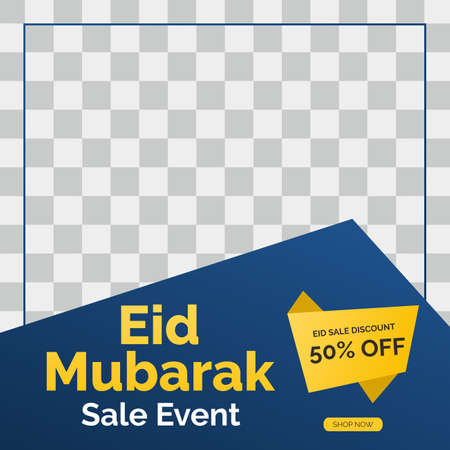 Eid Mubarak sale creative vector social media post template collection. Eid Mubarak Sale Modern social media post feed. Perfect for social media post.