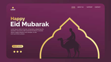 Eid Mubarak greeting concept with silhouette of muslim riding a camel for web landing page template, banner, presentation, social, and print media. islamic eid fitr or adha vector illustration 矢量图像