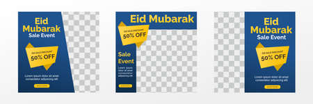 Eid Mubarak Sale creative vector social media post template collection. Perfect for social media post. 矢量图像