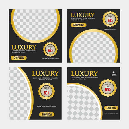 Set of Social media post template, Luxury social media template, Perfect for social media post, background and web internet ads. 矢量图像