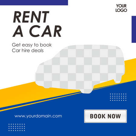 Rent car social media banner template, Perfect for social media post, background and web internet ads.