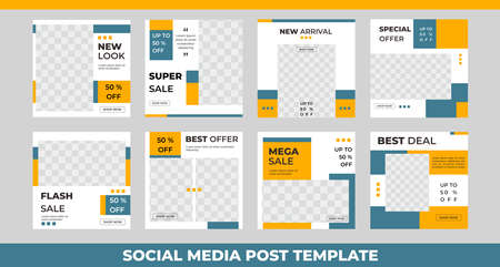 Set of editable modern square background template, Perfect for social media post , background and web internet ads.