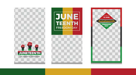 Set of Juneteenth celebrate freedom stories for social media. Pack for creating your unique content. Story mockup. 矢量图像