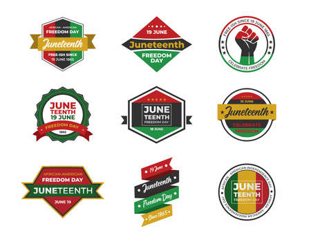 Vector banner, greeting card or poster for Juneteenth Day, celebration freedom, emancipation day in 19 june, Set of stickers juneteenth day. 矢量图像