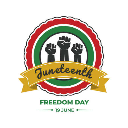 Juneteenth Day, Emancipation Day, 19 june, freedom day, african-American Independence Day, vector illustration. 矢量图像