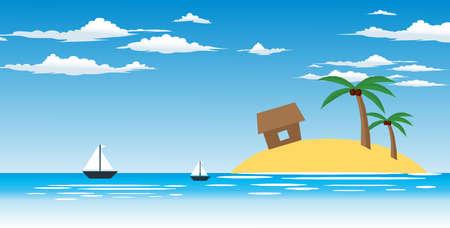 Summer beach vector background, Sea panorama, Tropical beach vector background.