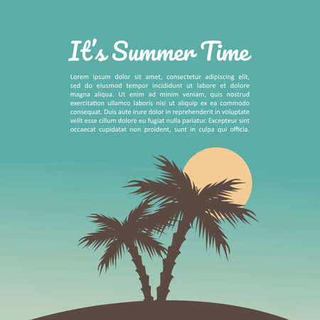 Beautiful summer on tropical beach with coconut trees, Vector Illustration. 矢量图像