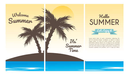 Collection set of social media stories design templates summer backgrounds. Summer sunny landscape with beach, sea, ocean and seaside waves. Summer vacation or tourist agency background.