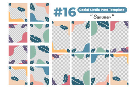 Set of social media design templates for summer, perfect for social media post, background and web internet ads.