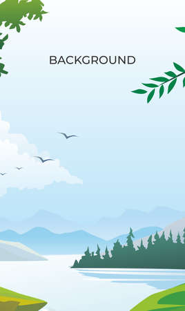 Forest on mountains river landscape background vector poster. spring and summer background with copy space for text - background for banner, greeting card, poster and adve 矢量图像