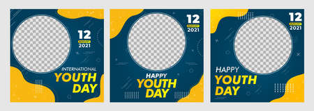 Creative vector of social media post template for Youth day, Happy Youth Day, Perfect for social media post, background and web internet ads.
