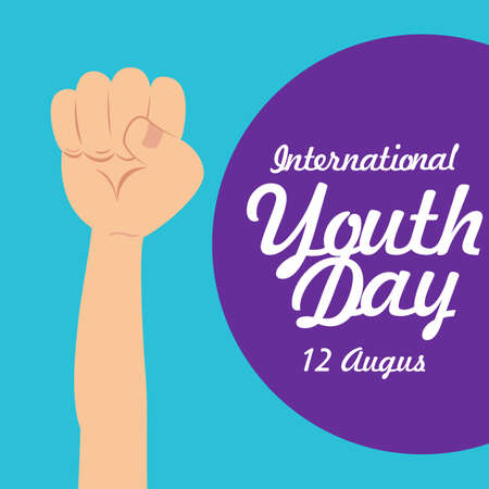 Happy Youth Day, International Youth Day 12 August 2021, card,banner or poster for international youth day. 矢量图像