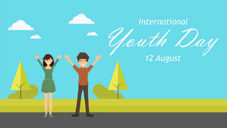 International Youth Day 12 August 2021, Happy Youth Day, card,banner or poster for international youth day. 矢量图像