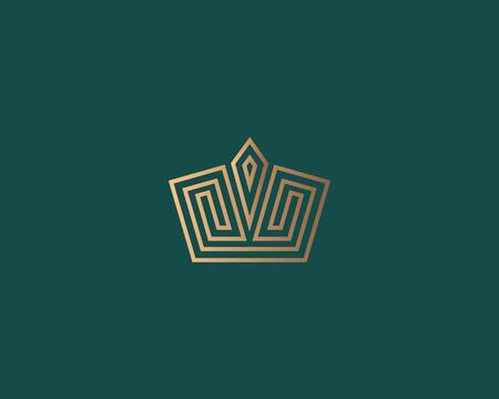 Geometric vintage creative gold crown abstract logo design vector template. Hotel, boutique, spa concept symbol logotype icon