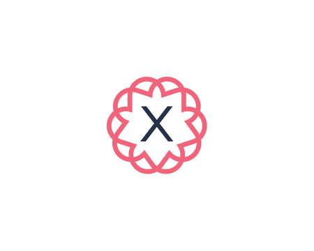Premium letter X logotype. Elegant floral frame with letter icon logo. Alphabet symbol mark