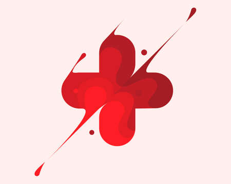 Medical cross vector pictogram. Illustration style is flat iconic red symbol on white background
