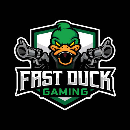 Fast Duck Gaming Logo is a mascot logo design for gamer on computer or smartphone, this logo represents energetic, agile and hard to beat. Ilustração