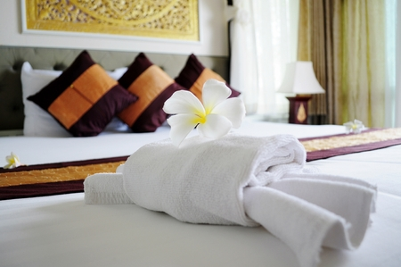 luxury hotel room: Relaxing bedroom in luxury boutique hotel