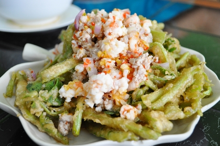 Thai style fried yardlong bean spicy salad photo