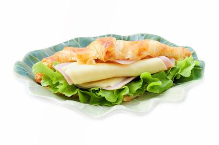 Ham-cheese croissant sandwich photo